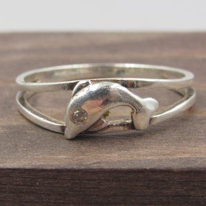 Size 8.5 Sterling Silver Dolphin CZ Diamond Band